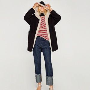 ZARA Knit Oversize Textured Hoodie Cardigan